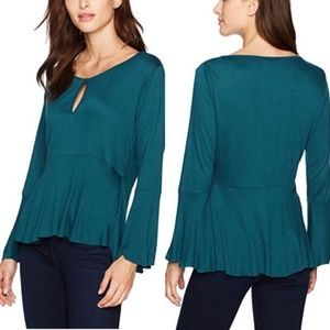 Lucky Brand teal bell sleeve keyhole blouse size M